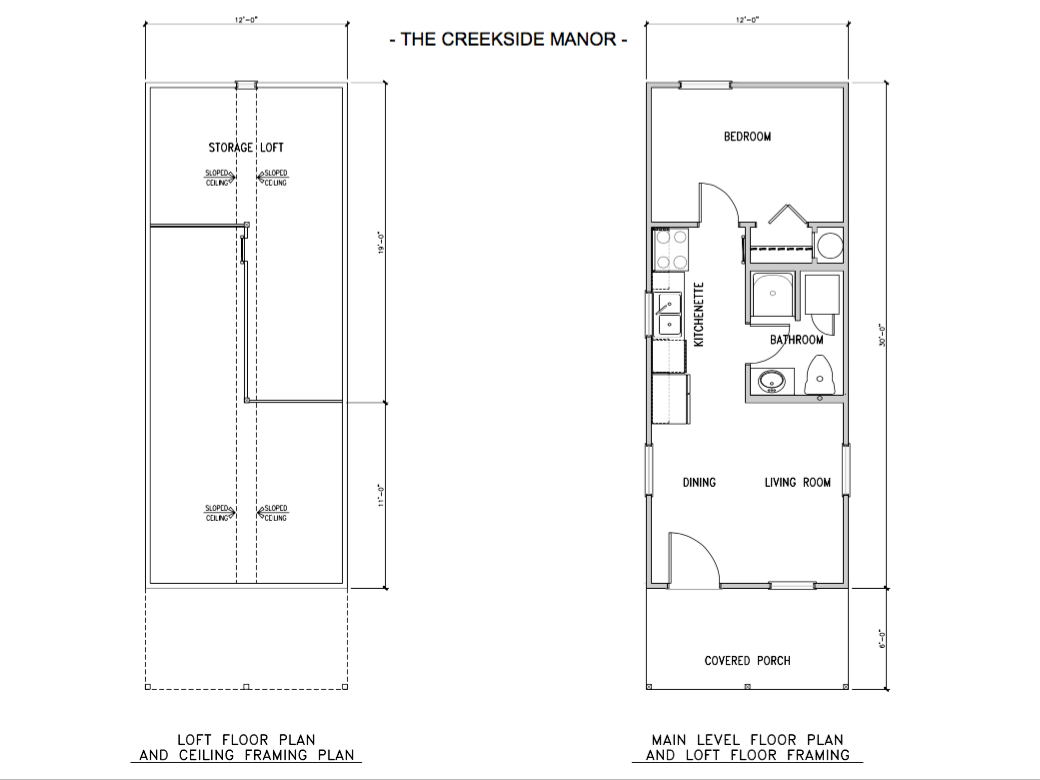 The Creekside Manor prefab log home floor plan.