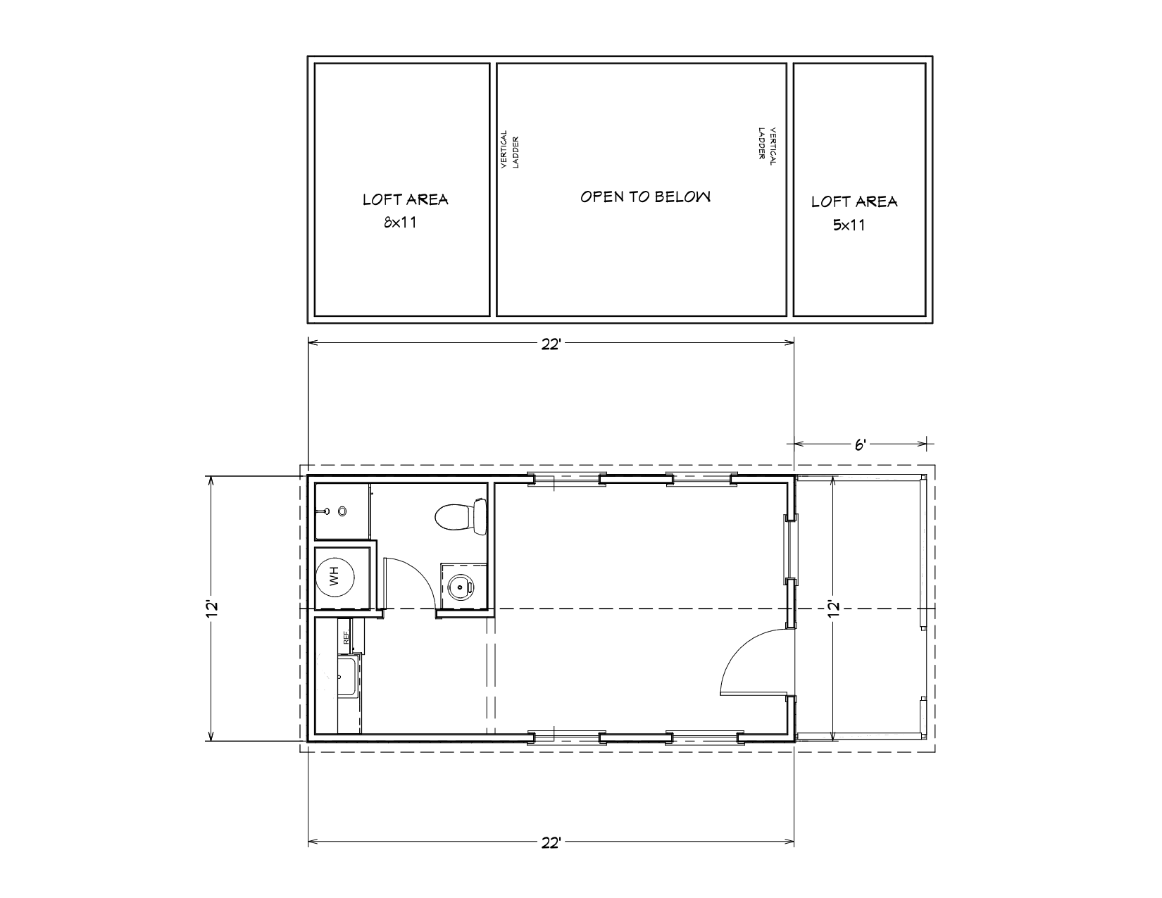 The Fog Hollow pre built cabin floor plan.