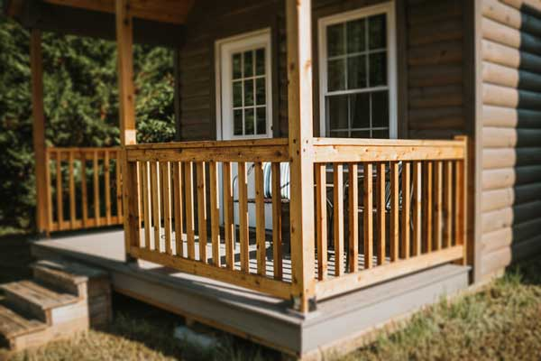 prefab log homes porch rails