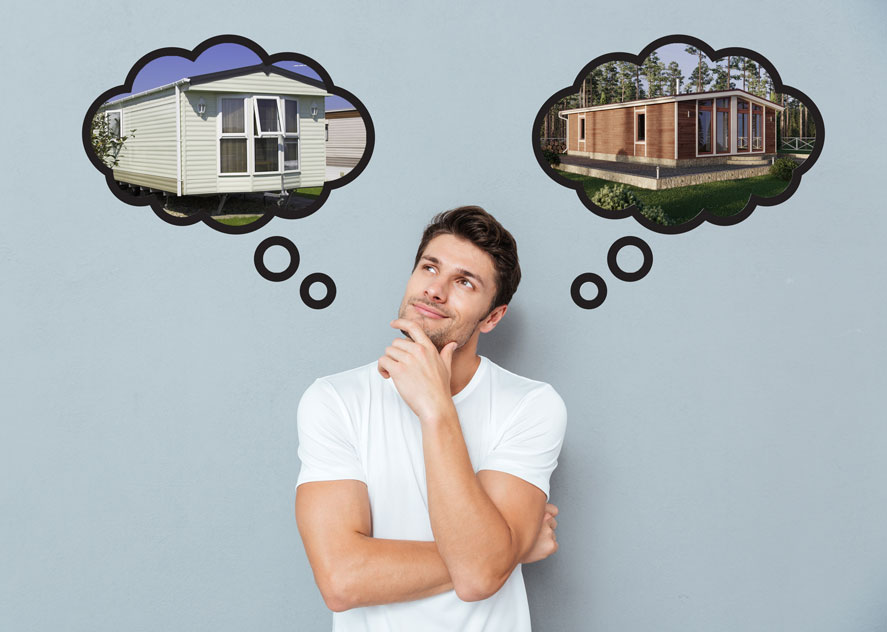 A man thinking over whether he should purchase a park model home or modular home.