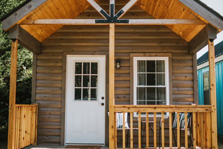 Front Porch of a Prefab Cabin from Cripple Creek Cabins